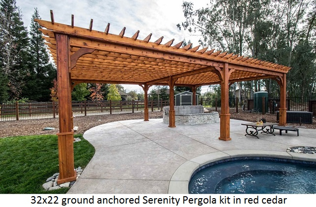 Pergola kits usa ground anchored pergola western red cedar wood 32x22 solutioingenieria Gallery