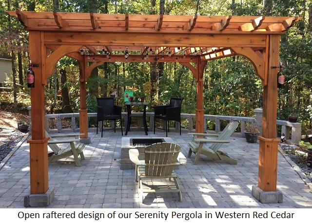 Open Raftered Pergola Of Western Red Cedar In